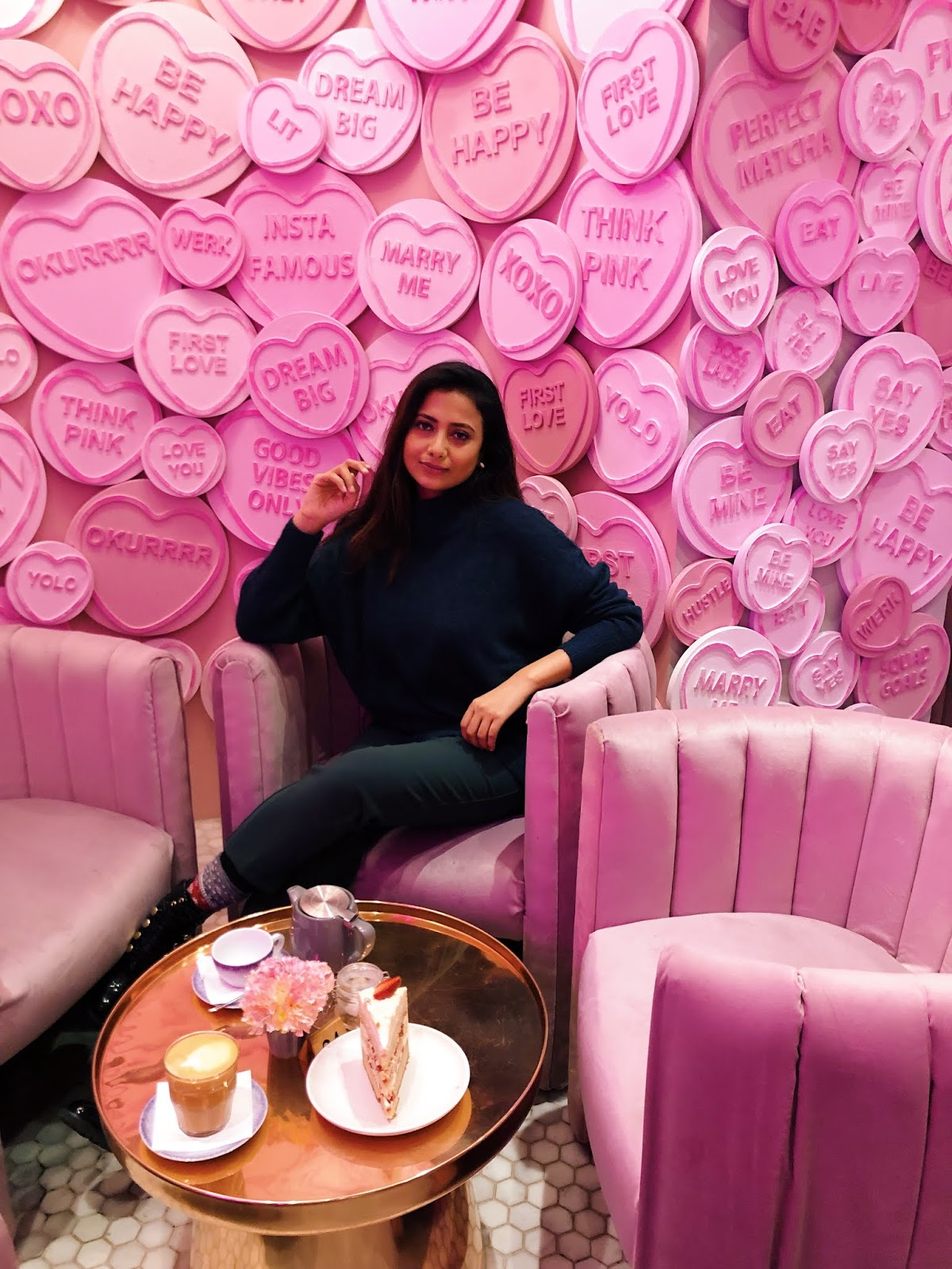 elan cafe hans crescent, london instagram cafe, cute cafe london, pink and green, spring in london, h&m jumper, pink wall london, a slow style, london blog, indian blogger, london blogger