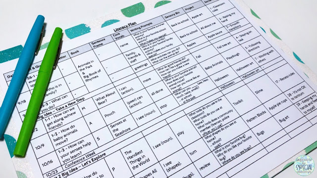 White literacy plan on a blue and green folder. Blue and green flair pens are placed on  the upper left corner of the document.