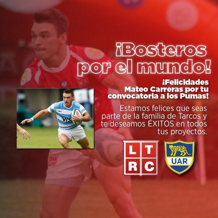 Mateo Carreras se incorpora a Los Pumas