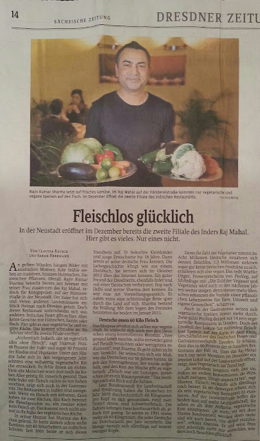 Die Sächsische Zeitung berichtet über das RajMahal-Restaurant Dresden-Neustadt - das indisch vegetarisch/vegane Restaurant in Dresden