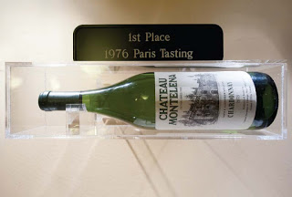 the 1973 Chardonnay from Château Montelena on display at the Smithsonian after winner first prize in the 1976 Paris tasting.