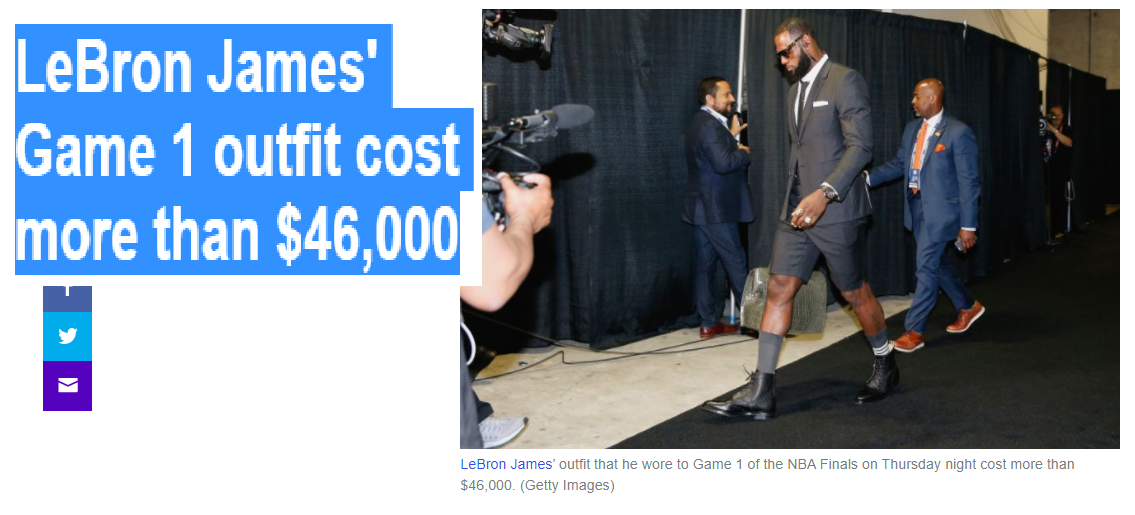 ab3f5100b8e NO COMMENT NEWS  Its bizarre how insecure some people are in their own skin  - LeBron James  Game 1 outfit cost more than  46