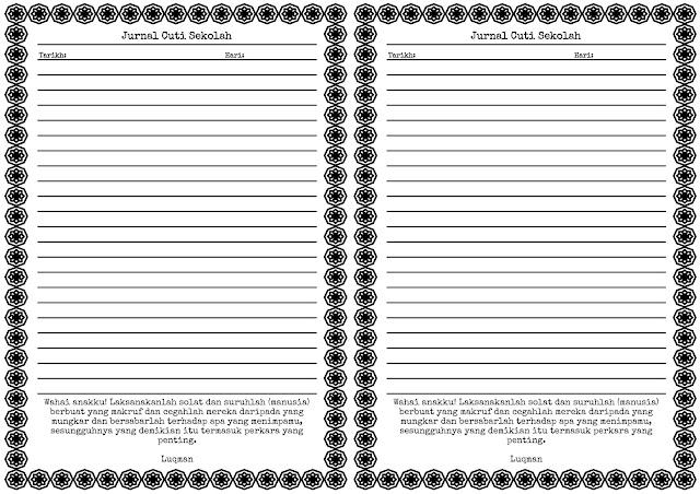 Jurnal Cuti Sekolah Size A4 Booklet (2 muka surat dalam 1 kertas)