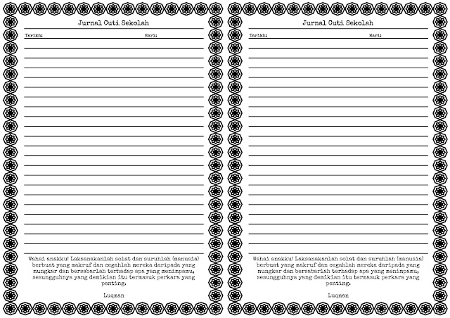 Jurnal Cuti Sekolah A4 Booklet Printable Junk Journal Kit JPG PDF Arabesque Octagon Flower
