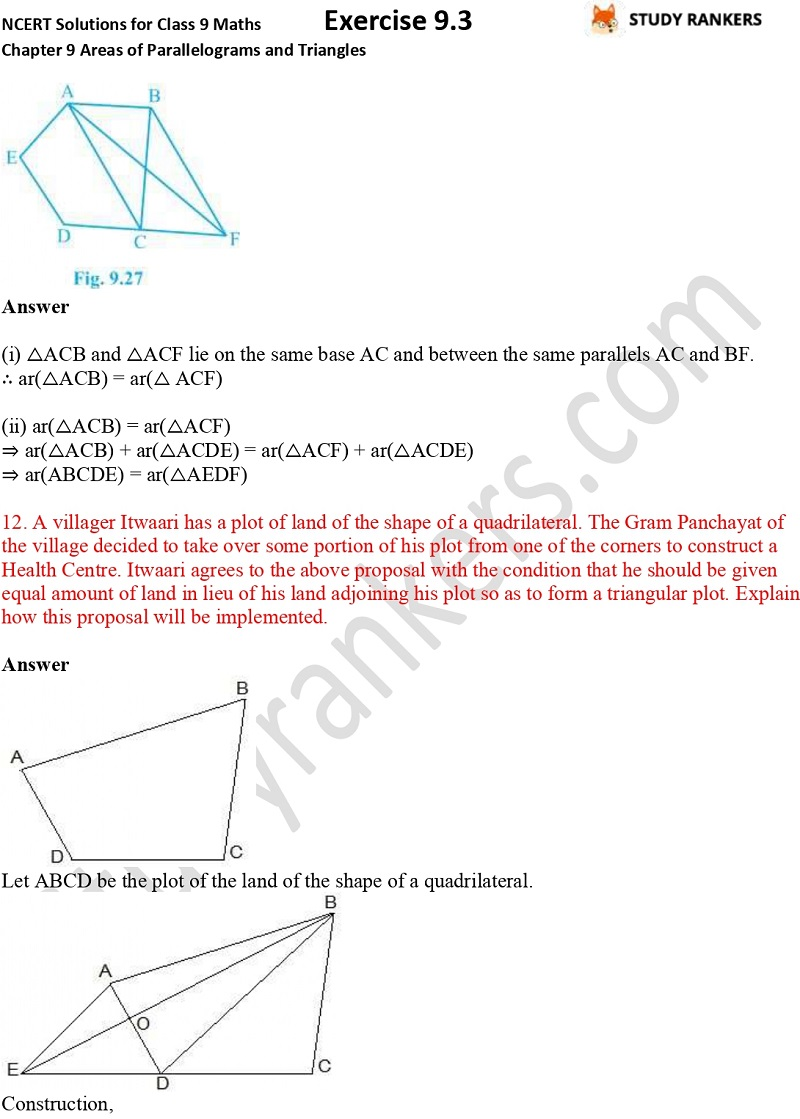 NCERT Solutions for Class 9 Maths Chapter 9 Areas of Parallelograms and Triangles Exercise 9.3 Part 8