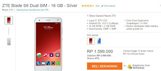 Harga Terbaru ZTE Blade S6 16 GB Turun Harga Menjadi 1 Jutaan (Rp 1.599.000)