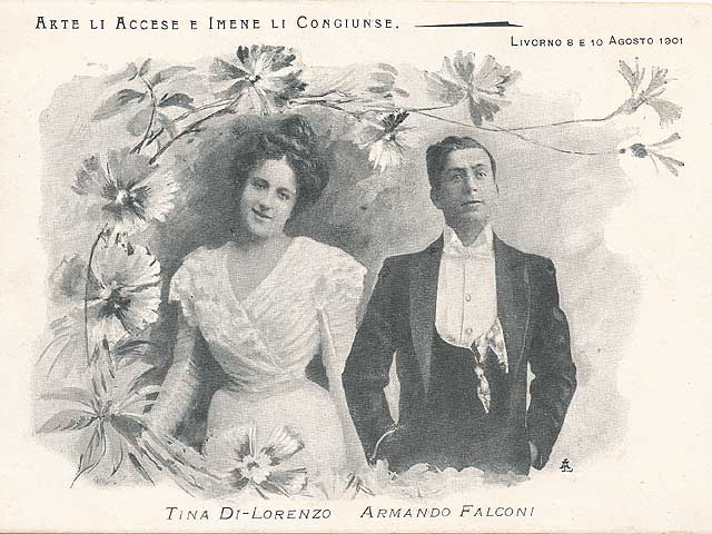 Tina Di Lorenzo and Armando Falconi wedding postcard, Livorno