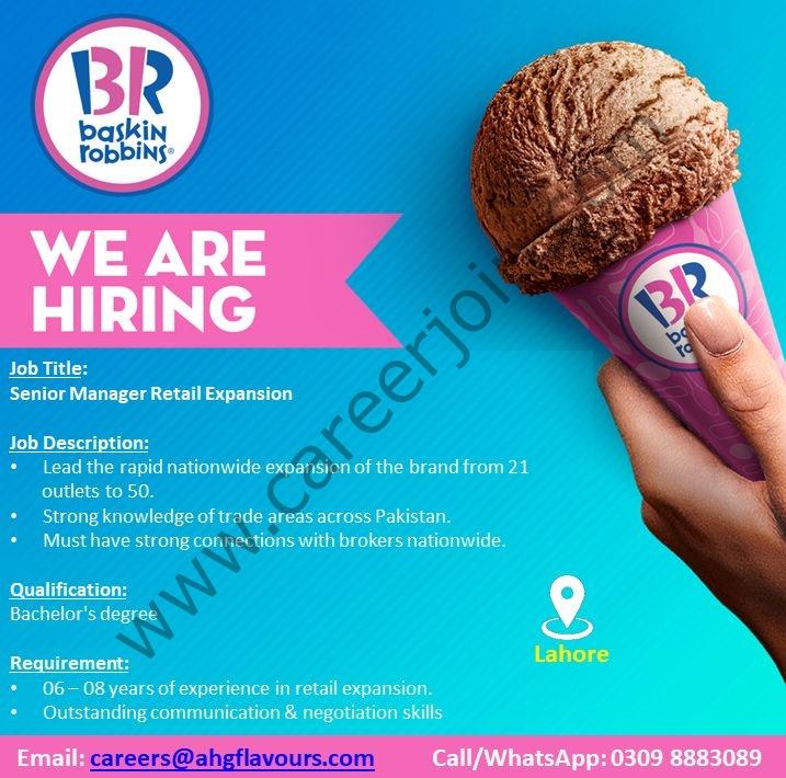 careers@ahgflavours.com - Baskin Robbins Pakistan Jobs 2021 in Pakistan