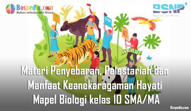 Materi Penyebaran, Pelestarian dan Manfaat Keanekaragaman Hayati Mapel Biologi kelas 10 SMA/MA