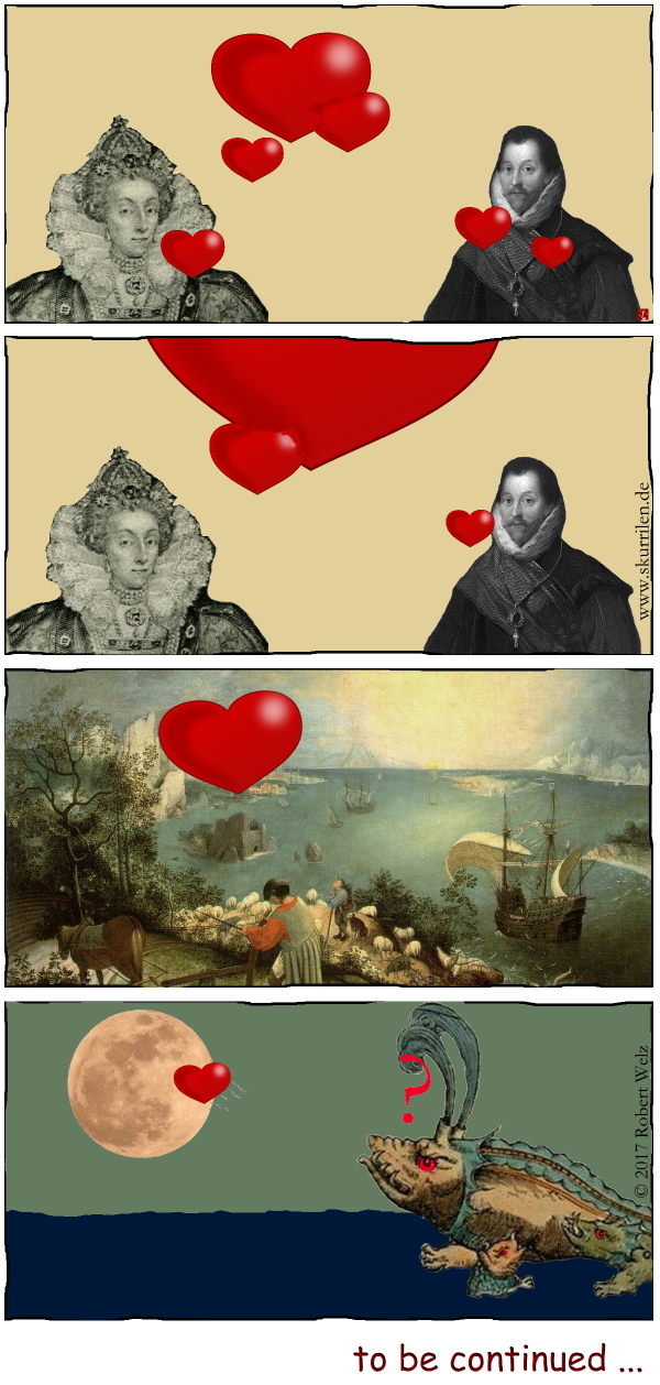 Herz, Fantasy, Comic, verliebt, Collage, Gemälde, Pieter Bruegel, Kunst, 16. Jahrhundert, Königin, Pirat, Seeungeheuer