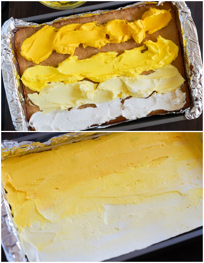 how to frost lemon cookie bars with ombre frosting
