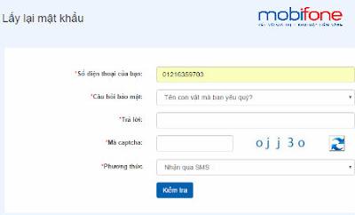 Cách lấy lại mật khẩu Mobifone Portal