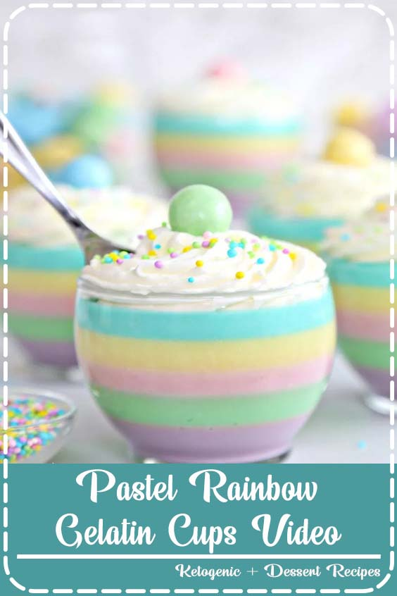 Pastel Rainbow Gelatin Cups are a beautiful dessert for springtime or Easter Pastel Rainbow Gelatin Cups Video