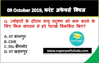 Daily Current Affairs Quiz 09 October 2019 in Hindi