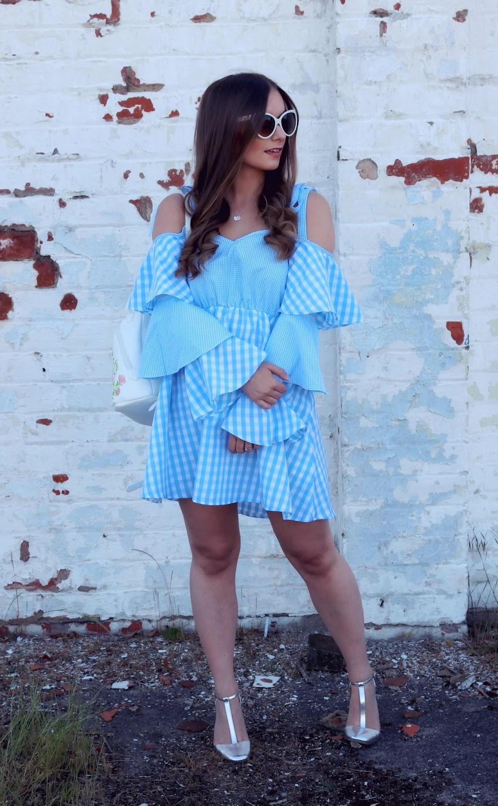 Boohoo Blue Gingham Dress