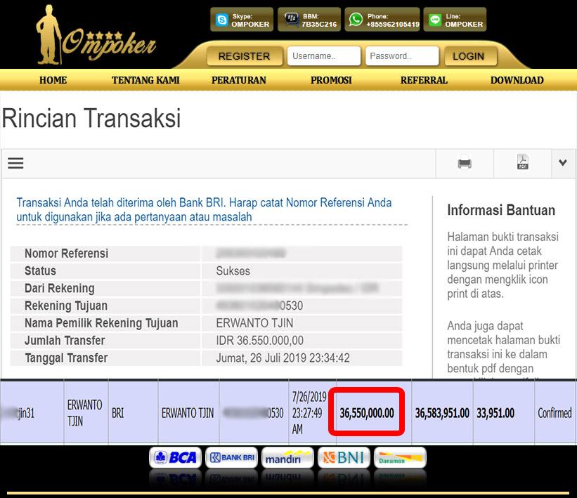 Selamat Kepada Member Setia Ompoker WD Rp 36.550.000