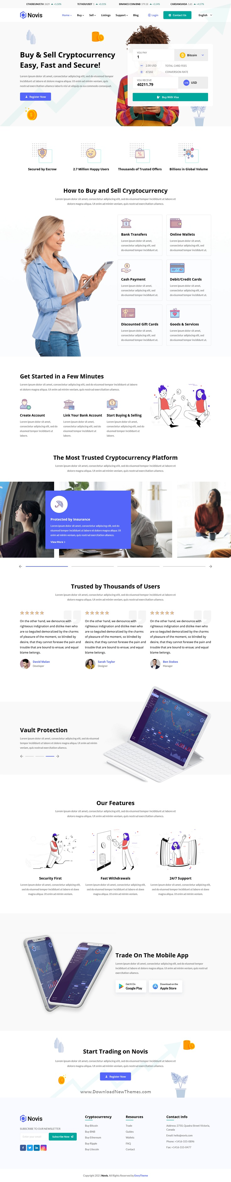 Cryptocurrency Website Template