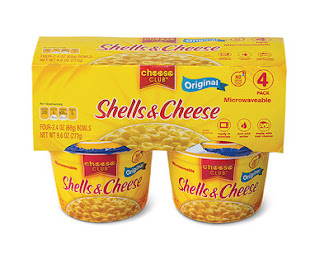 A stock image of Aldi's Cheese Club Shells and Cheese Cups