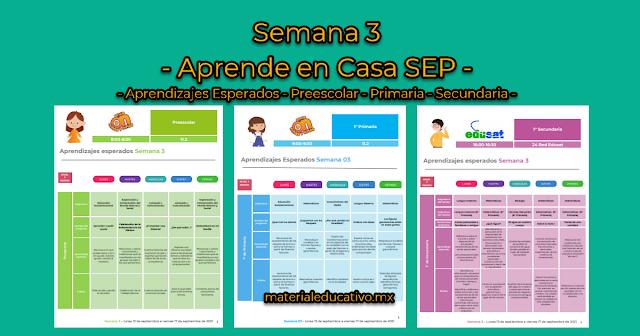 Semana 3 - Aprende en Casa SEP - Aprendizajes Esperados - Preescolar - Primaria - Secundaria