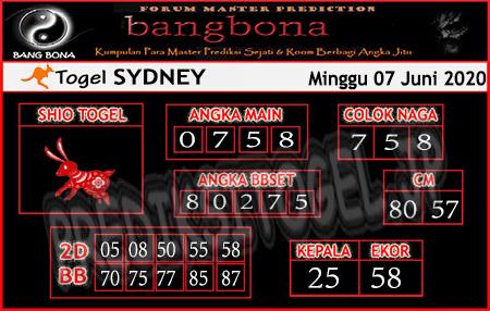 Prediksi Sydney Minggu 07 Juni 2020 - Bang Bona