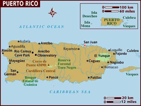 Carte de Porto Rico avec ses villes