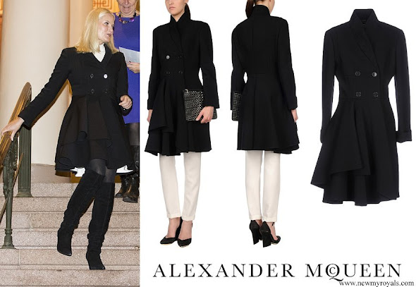 Crown Princess Mette-Marit wore Alexander Mcqueen Coat