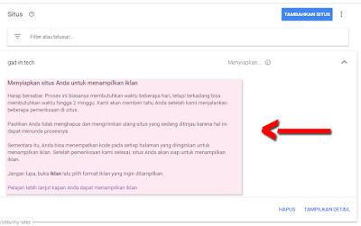 situs dalam masa Peninjauan Google Adsense