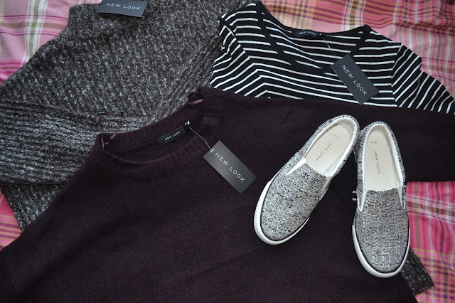 New Look jumpers, striped top and plimsolls