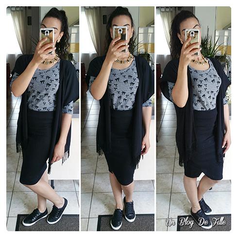 Un blog de fille ootd jupe crayon et gilet kimono - Que porter avec une jupe crayon ...