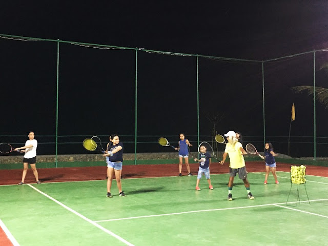 Tennisters' Beach Resort Tuburan. Kids having training session with the coach.