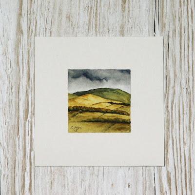 Scottish borders harvest hills watercolour painting