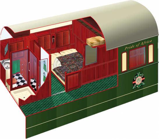 3D-Ansicht der Pullman Suite im Rovos Rail