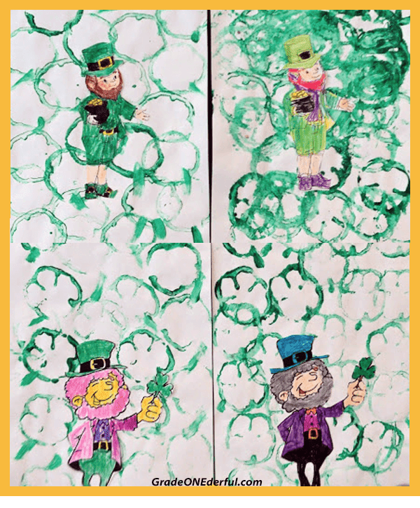 How to Make a Cute St. Patrick's Day Painting in 5 Easy Steps.  Use a sliced green pepper to stamp out some shamrocks. Link to cute leprechaun to colour is included.