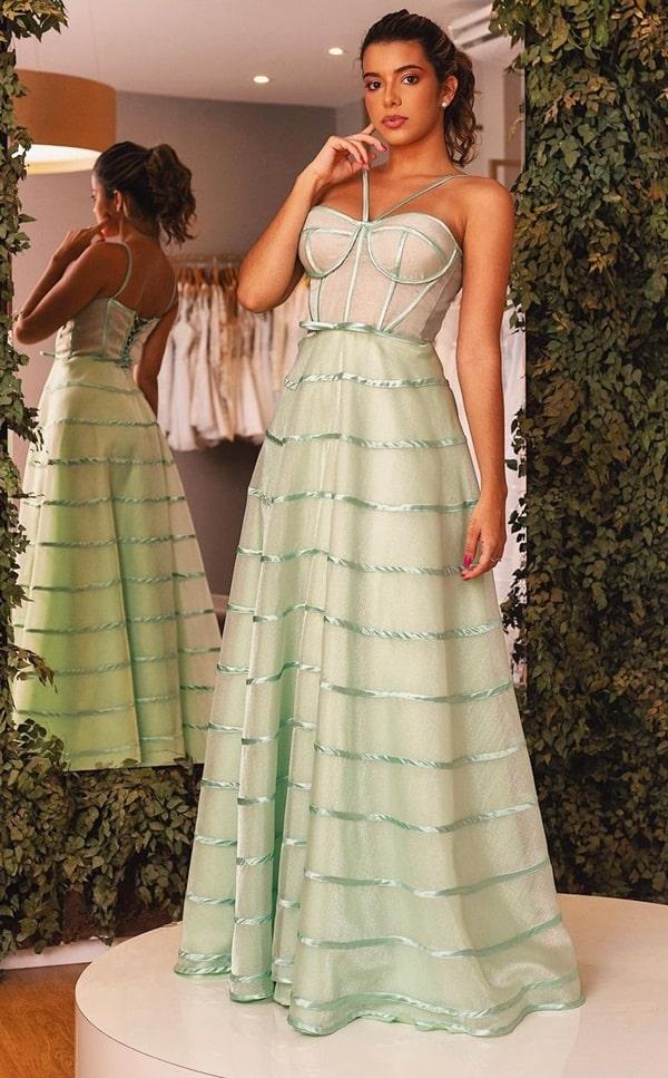 vestido longo verde menta