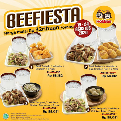 "#Hokben - #Promo Beef Lover Party ""Beefiesta"" Harga Special Mulai 32K (s.d 24 Agustus 2020)"
