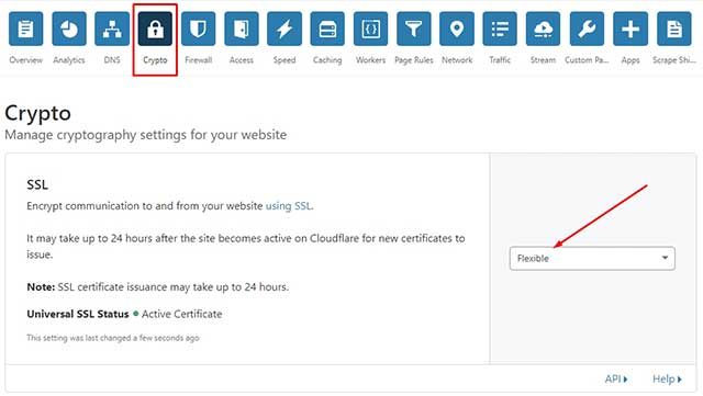 seleccionar la opción Flexible para SSL
