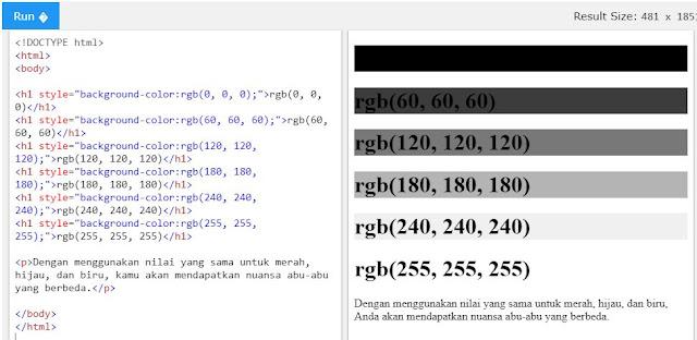 Nilai RGB pada HTML