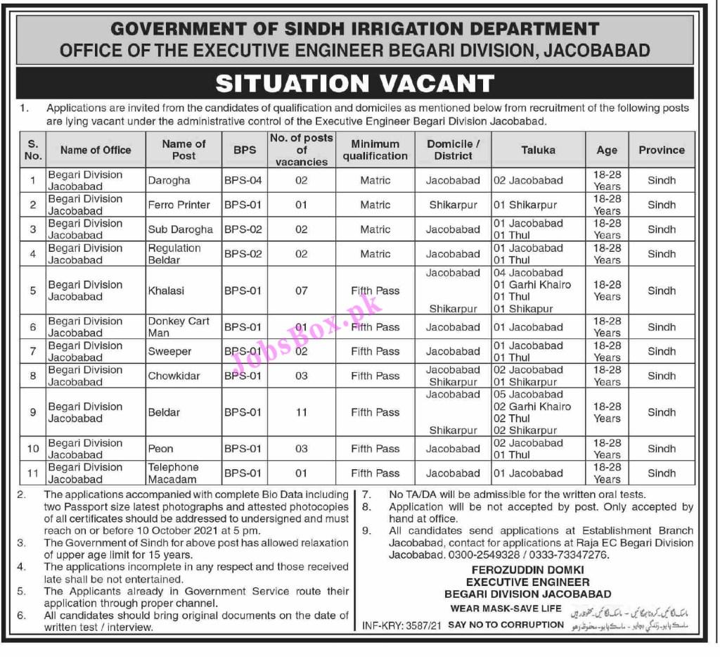 Irrigation Department Sindh Jobs 2021 All Advertisements