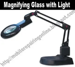 magnifying glass with a light