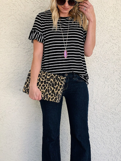 Striped ruffle top with flair jeans