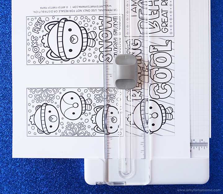 Free Printable Winter Coloring Bookmarks with Paper Cutter