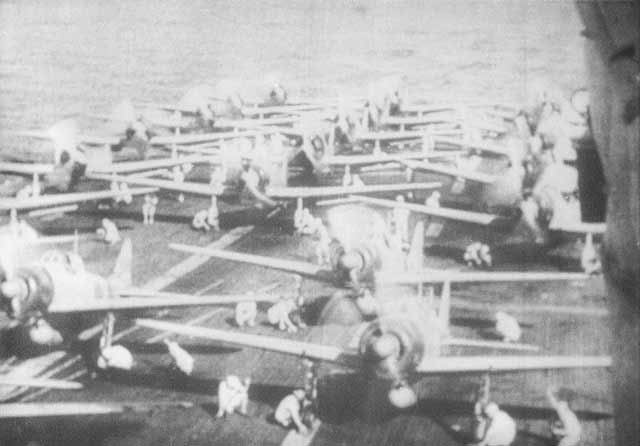 Aircraft ranged on Akagi's deck ready to strike at the heavy cruisers Cornwall and Dorsetshire, April 5, 1942. worldwartwo.filminspector.com