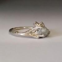 Twig Bridal Set, Branch Wedding Ring, Wood Texture Engagement Ring, Twig Engagement Ring, Gold engagement rings, raw uncut Engagement Rings