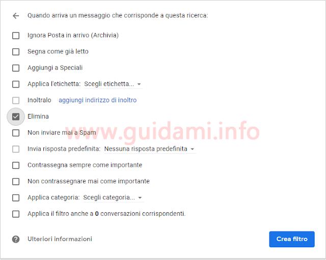 Gmail schermata azione filtro blocco email