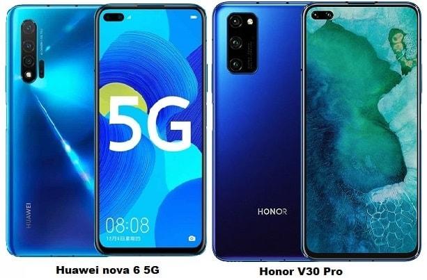 Compare Huawei Nova 6 5G Vs Huawei Honor V30 Pro 5G