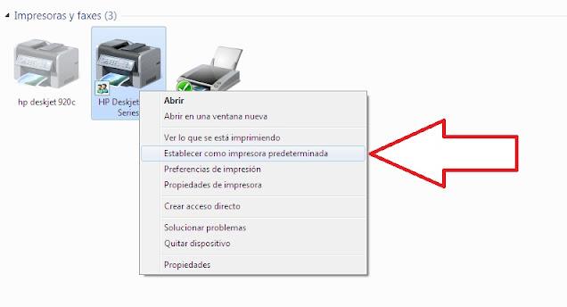 Establecimiento de impresora como predeterminada.