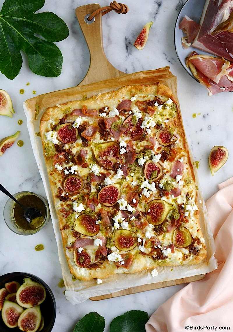 Fig, Prosciutto Ham and Feta Cheese Pizza - easy, quick to make, delicious homemade pizza with seasonal figs for Fall entertaining or weekend brunch! by BirdsParty.com @BirdsParty #recipe #pizza #figs #ham #fetacheese #figrecipe #fallappetizer,thanksgivingappetizer #appetizer