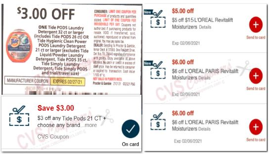 loreal & tide coupons