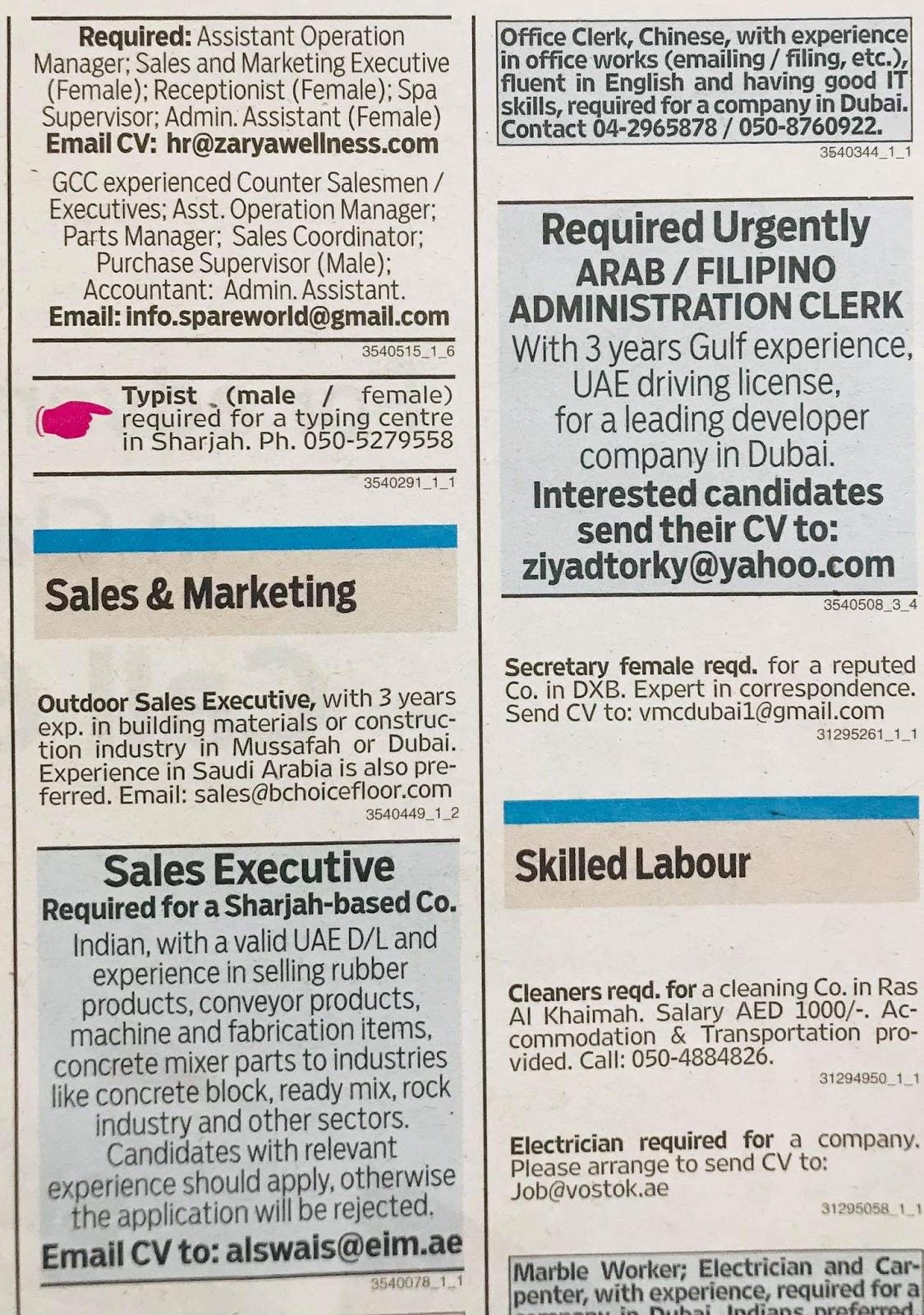 Required Following Staff in UAE Local Hiring Jobs Khaleej Times-UAE