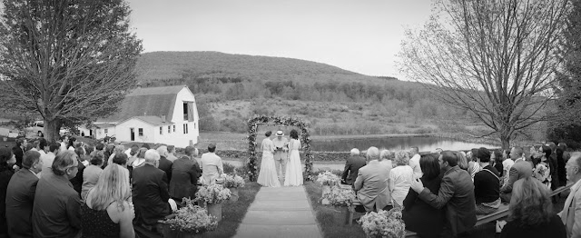 Outdoor ceremony for Jonna and Heather's Inn at West Settlement Wedding by Karen Hill Photography